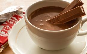Picture chocolate, sticks, Cup, drink, dessert, KitKat