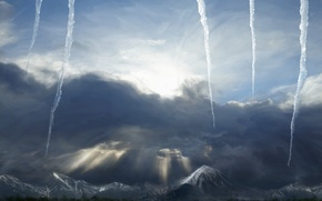Wallpaper Icicles, the sky, mountains, winter