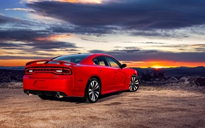 Picture Sunset, The sky, Red, The evening, Auto, Dodge, Sedan, Dodge, charger