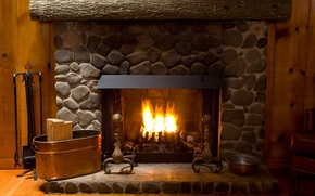 Wallpaper style, room, design, interior, apartment, fireplace, stones, fire