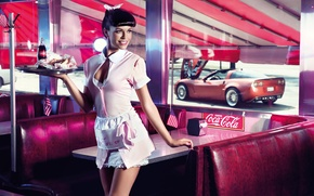 Picture machine, girl, flag, window, cafe, the waitress, Coca-Cola