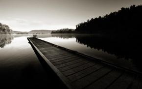 Wallpaper hills, water, the bridge, forest, reflection