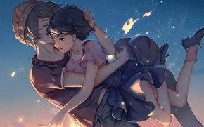 Picture girl, flight, surprise, guy, hugs, art, mishima lisa, twelve, bamboocm, zankyou no terror