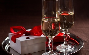 Picture love, gift, wine, heart, glasses, love, heart, romantic, Valentine's Day
