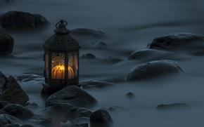 Picture water, stones, the evening, excerpt, lantern, Vset