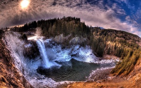 Picture clouds, trees, stones, waterfall, cold sun