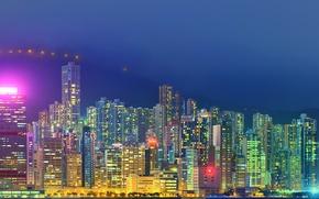 Picture landscape, mountains, night, lights, Hong Kong, skyscrapers, panorama, China, illumination