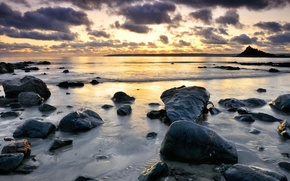 Picture the sky, water, stones, photo, the ocean, the evening