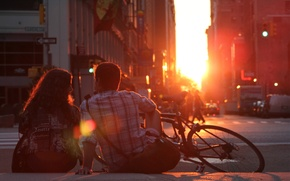Picture girl, the sun, love, sunset, bike, romance, pair, love, guy, sunset, couple, romantic, Romantic