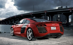 Wallpaper red, bridge, audi