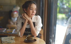 Picture reverie, face, Asian, table