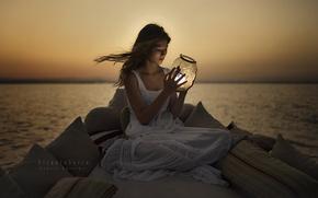 Picture sea, girl, light, night