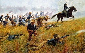 Picture war, horse, Rough Riders by Mort Kunstler, Kettle Hill, July 1, 1898 -- With the …