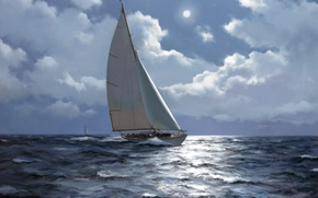 Picture painting, drawing, Ship, naval art