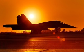 Picture the sun, sunset, the plane, background, the evening, Russia, bomber, the airfield, BBC, Dry, Su-34, ...