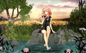 Picture girl, trees, flowers, pond, stone, water lilies, guilty crown, inori yuzuriha