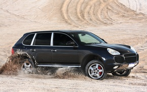 Picture Porsche, black, desert, speed, sand, Turbo, Cayenne