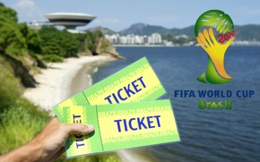 Picture logo, football, World Cup, Brasil, FIFA, 2014, tickets