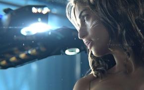 Picture girl, night, the city, transport, police, cyborg, cyberpunk, Cyberpunk 2077
