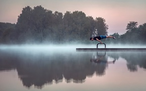 Picture lake, morning, gymnast