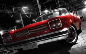 Wallpaper style, retro, red convertible