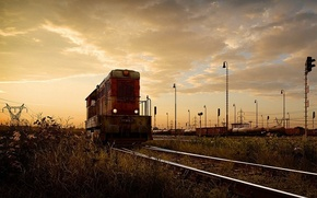 Wallpaper locomotive, Iron, rails, road