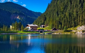 Picture greens, trees, mountains, nature, lake, home, Alps, houses, Alpes, Alps