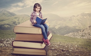 Picture girl, reading, books, mountains, nature