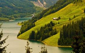 Wallpaper mountains, background, plants, nature, trees, Wallpaper, Bank, hills, landscape, river, forest