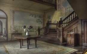 Picture flowers, table, room, ladder, vase, mansion
