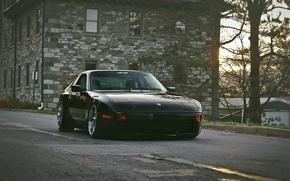 Picture street, black, home, porsche, Porsche, black, stance, 944