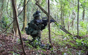 Picture weapons, soldiers, Singapore Army
