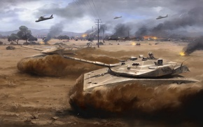 Picture war, desert, helicopter, storm, tanks, Arma 3, dust. art
