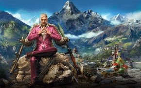 Picture The sky, Mountains, Statue, Weapons, Look, Far Cry 4, Clouds, RPG, Pagan Min., Kyrat, Ubisoft, …