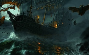 Picture sea, night, storm, people, ship, vampires, mouse, volatile