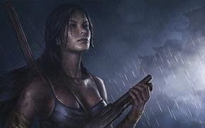 Picture girl, beauty, shotgun, Tomb-Raider