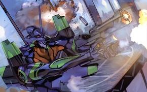 Picture fire, attack, shot, armor, the battle, neon genesis evangelion, Evangelion, Evangelion, super-weapons, combat robot, UNIT-1, …