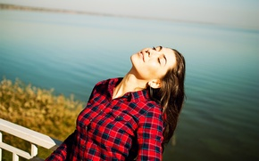 Picture autumn, girl, nature, lake, the situation