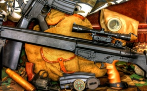 Wallpaper M 16A1, K 94, sleeve, 20-charger shop, revolver, backpack, sniper rifle, assault rifle, compass, gas ...