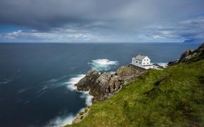 Wallpaper sea, wave, grass, clouds, rock, lighthouse, horizon