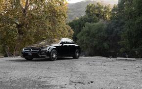 Picture black, Mercedes Benz, Mercedes, CLS550, sidefront