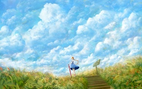 Picture field, the sky, grass, girl, clouds, umbrella, the wind, plate, umbrella, dress, art, steps, bou …