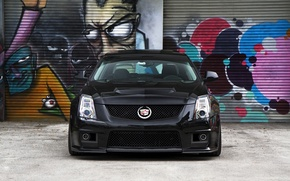 Picture black, Cadillac, before, grafiti, black, CTS-V, Cadillac