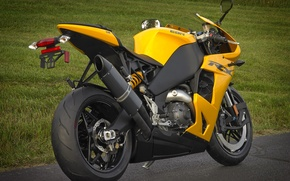 Picture yellow, motorcycle, rear view, bike, yellow, EBR, 1198rx, the DLR