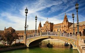 Wallpaper bridge, river, boats, lights, Spain, Spain, Seville, Andalusia, Andalusia, Seville, Espana, Plaza de Espana