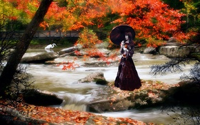 Picture girl, bridge, Autumn, mountain river, Heron, Asia.