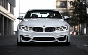 Picture BMW, turbo, white, Coupe, power, front, face, germany, angel eyes, F82.tuning