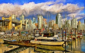 Picture Marina, yachts, port, Canada, Vancouver, Canada, boats, Vancouver