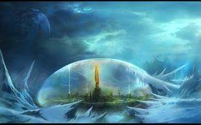Picture the city, fantasy, fiction, planet, the dome