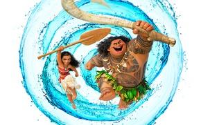 Picture water, weapons, cartoon, tattoo, girl, white background, poster, Walt Disney, paddle, Maui, aboriginal, Maui, Moana, …